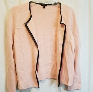 Talbots pink cardigan black leather trim